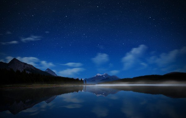 Homepage Nature Night sky reflected in the lake wallpaper 600x380