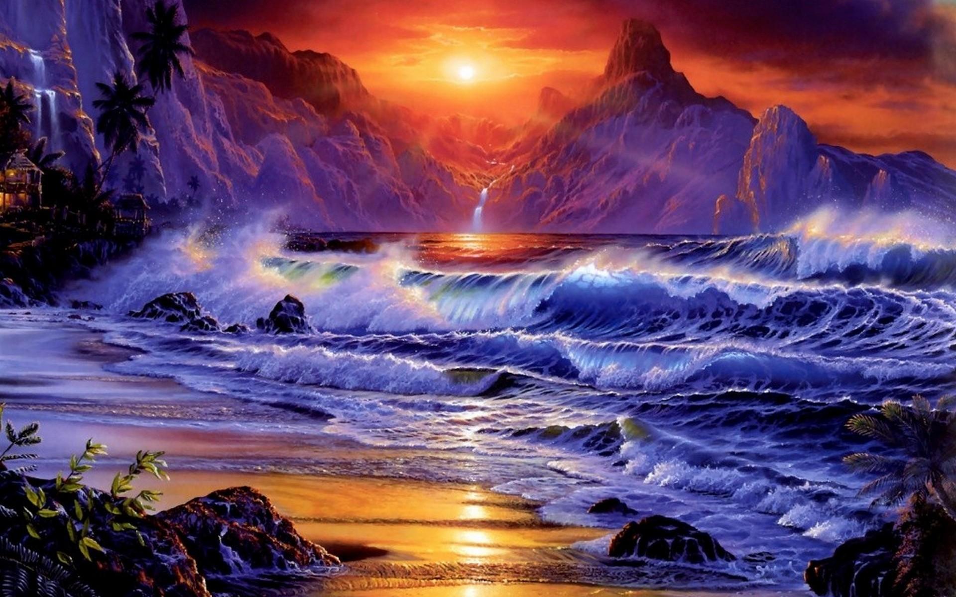 Sunsets Ocean Wallpaper 1920x1200 Sunsets, Ocean, Waves, Fantasy, Art ...
