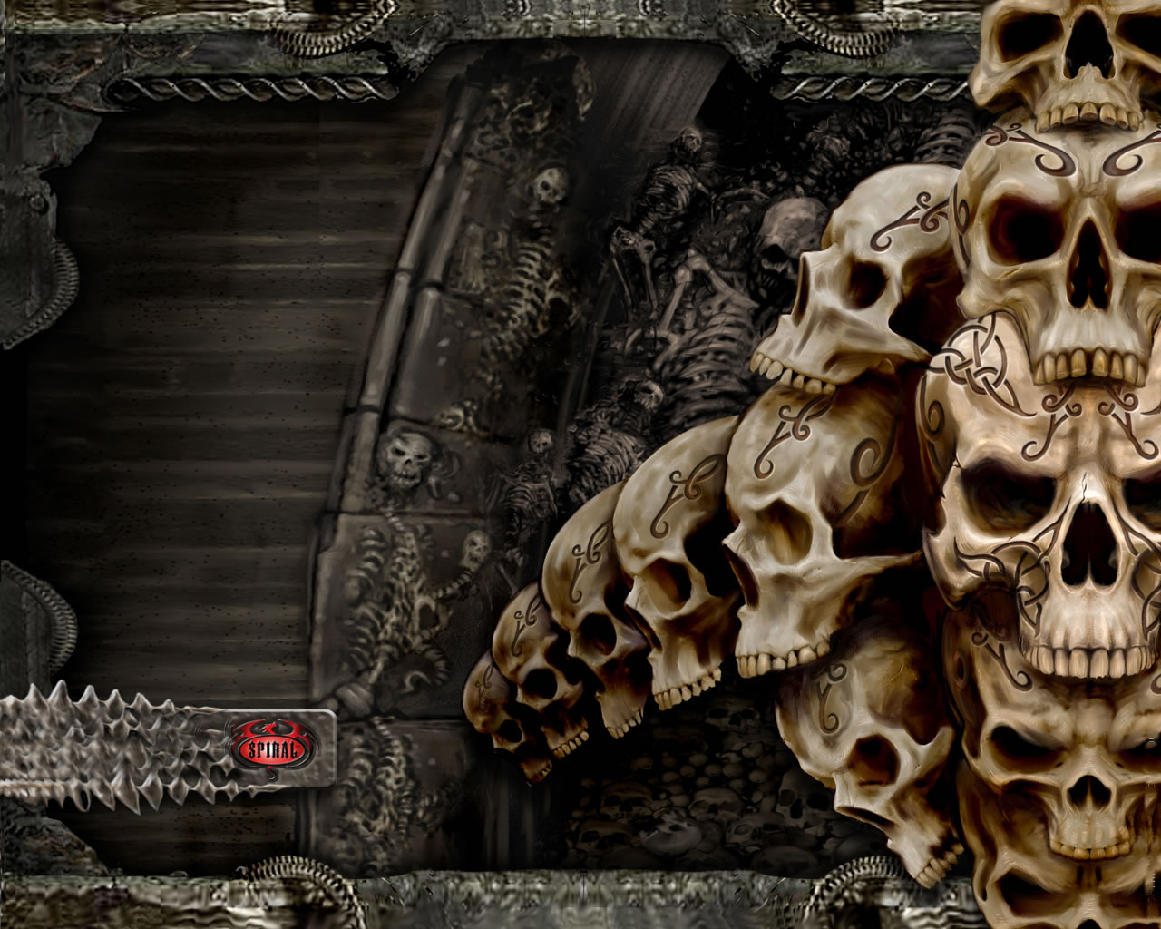 Skulls Art 3D Backgrounds on this Scary Wallpaper Backgrounds website 1280x1024