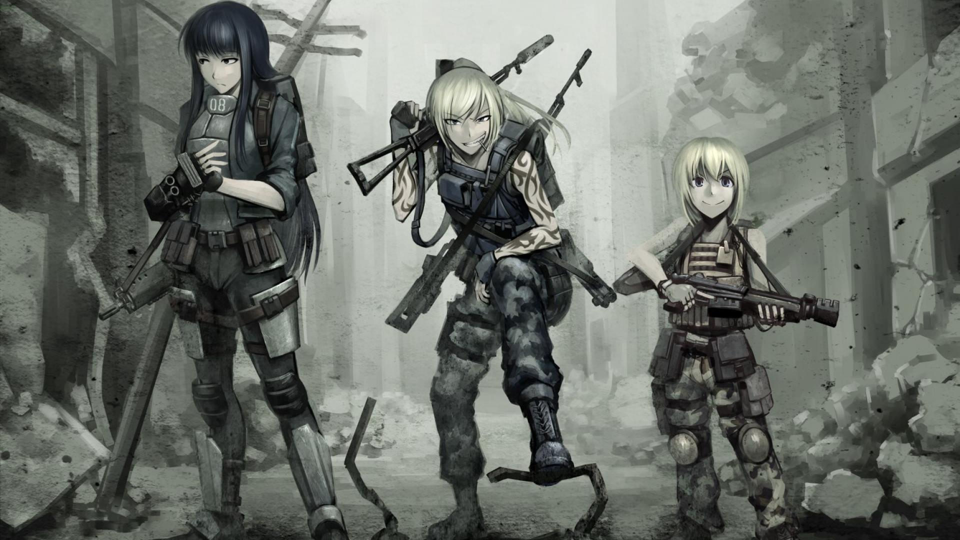 Anime girls with guns wallpaper 1542x988 HQ WALLPAPER   25809 1920x1080