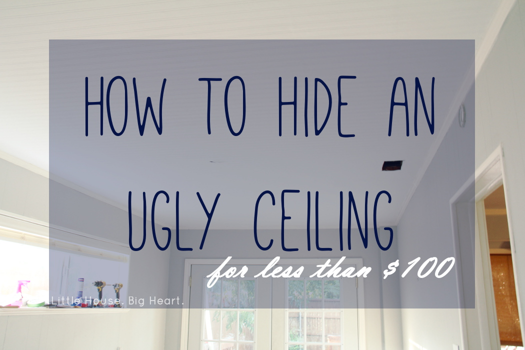 our tutorial on how to hide an ugly ceiling with paintable wallpaper 1050x700