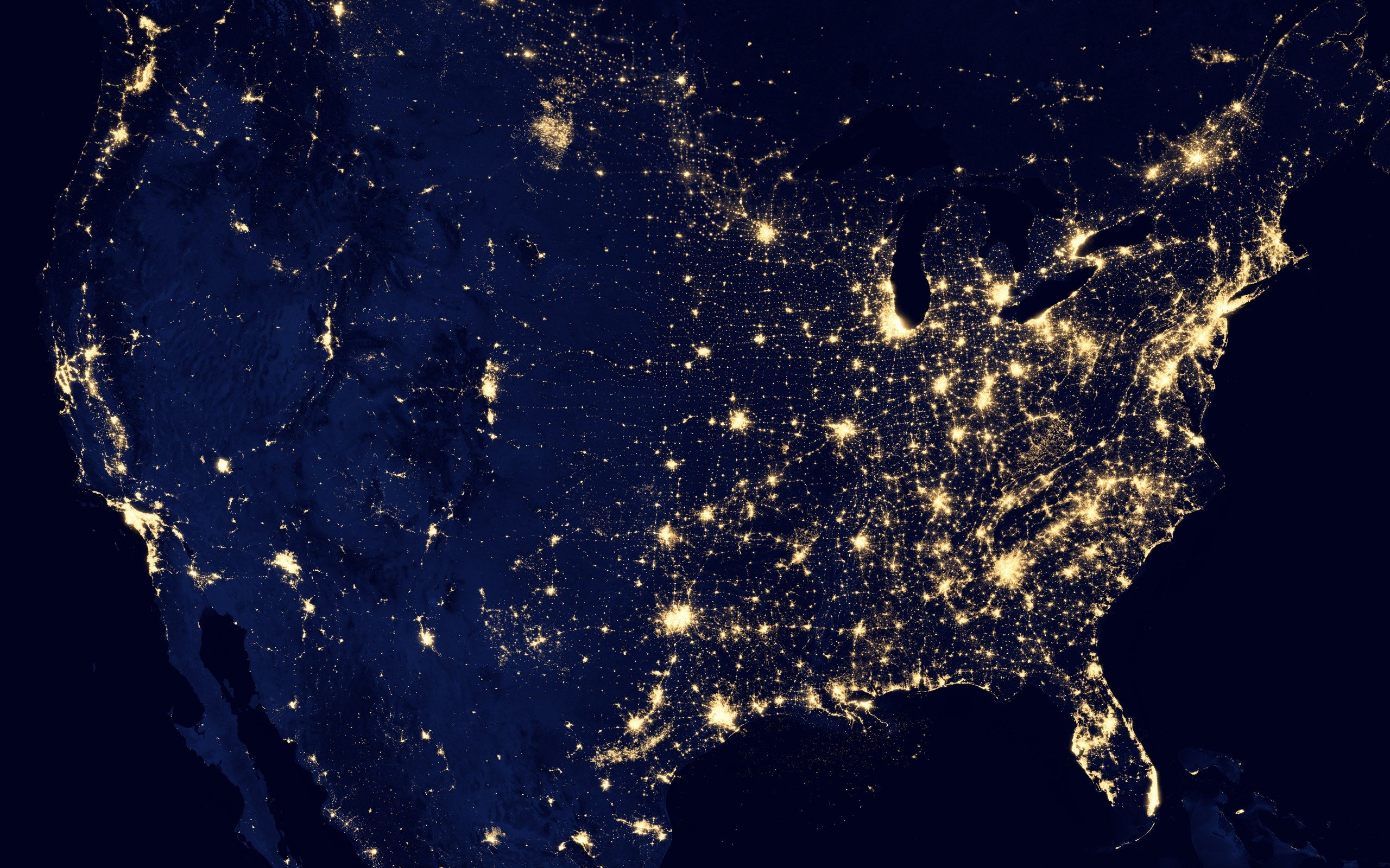grid map usa united states power electricity night lights space 2560x1600