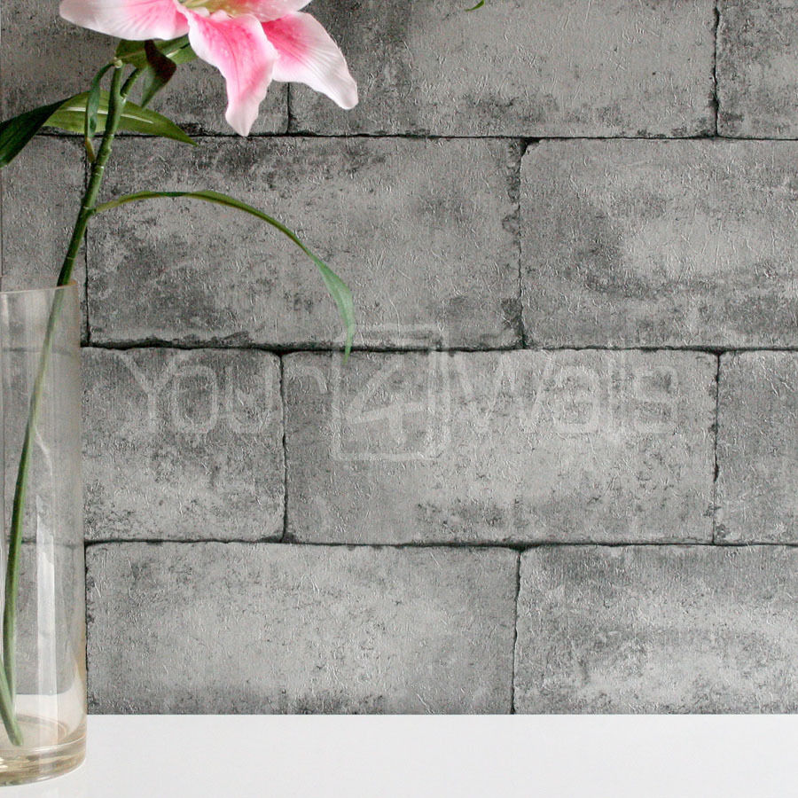 Breeze Block wallpaper Stone Concrete Brick Effect Wallpaper   Grey 900x900