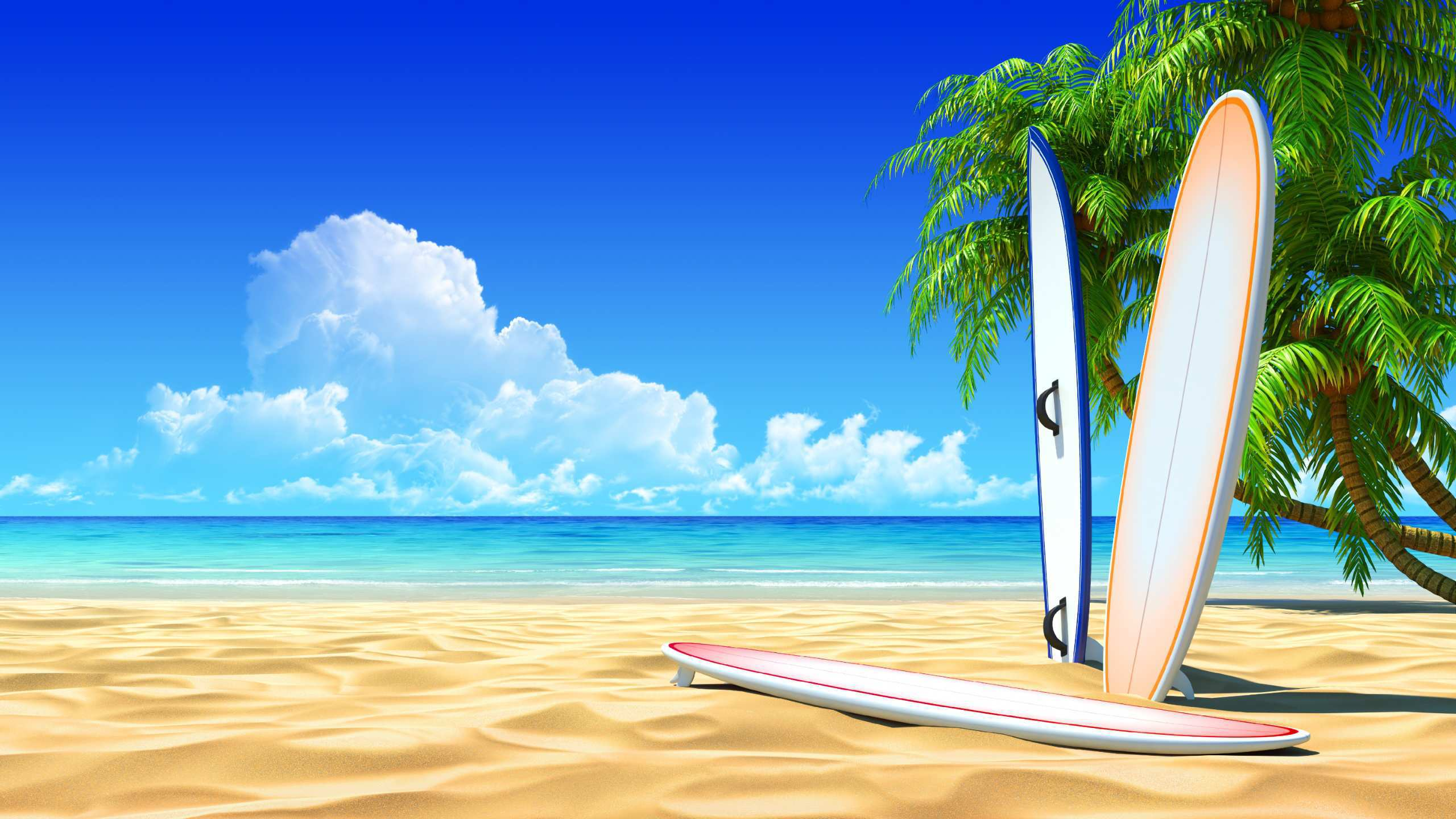 Surf board on the beach Wallpaper Wide Wallpaper Collections 2560x1440