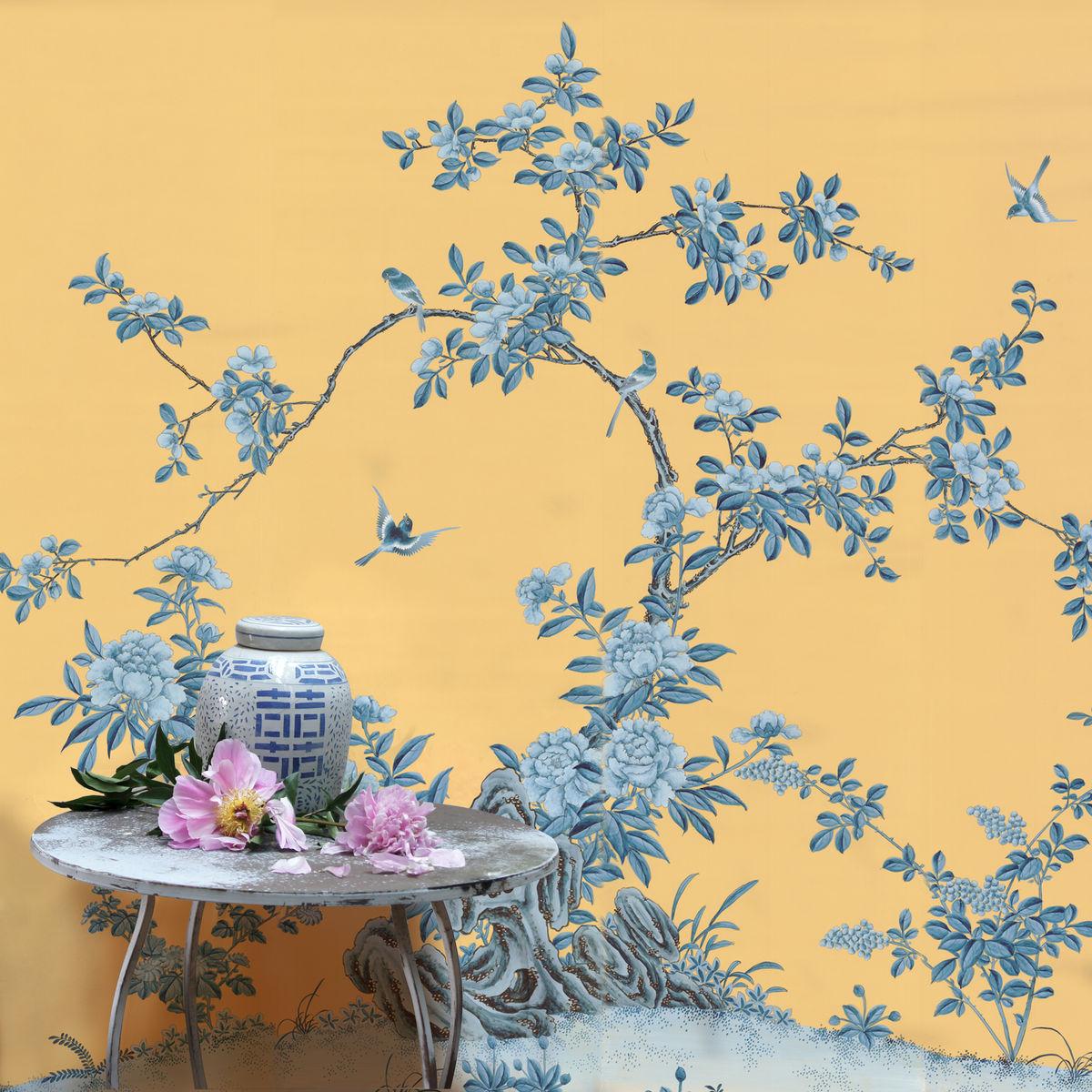 Blue Chinoiserie Wallpaper 1200x1200