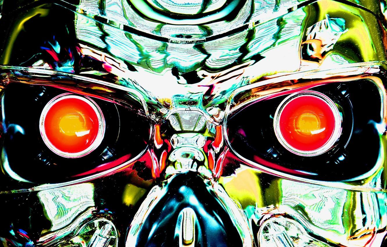 Wallpaper eyes metal steel mechanism robot cyborg terminator 1332x850
