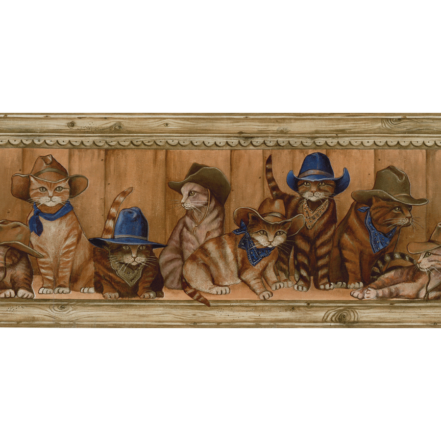 roth 10 14 Blue Cowboy Cats Prepasted Wallpaper Border at Lowescom 900x900