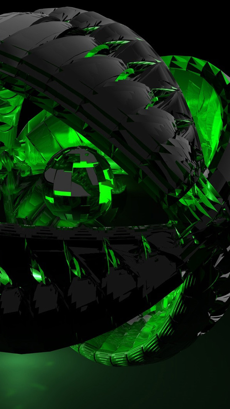3D black and green iPhone 6 Wallpaper HD iPhone 6 Wallpaper 750x1334