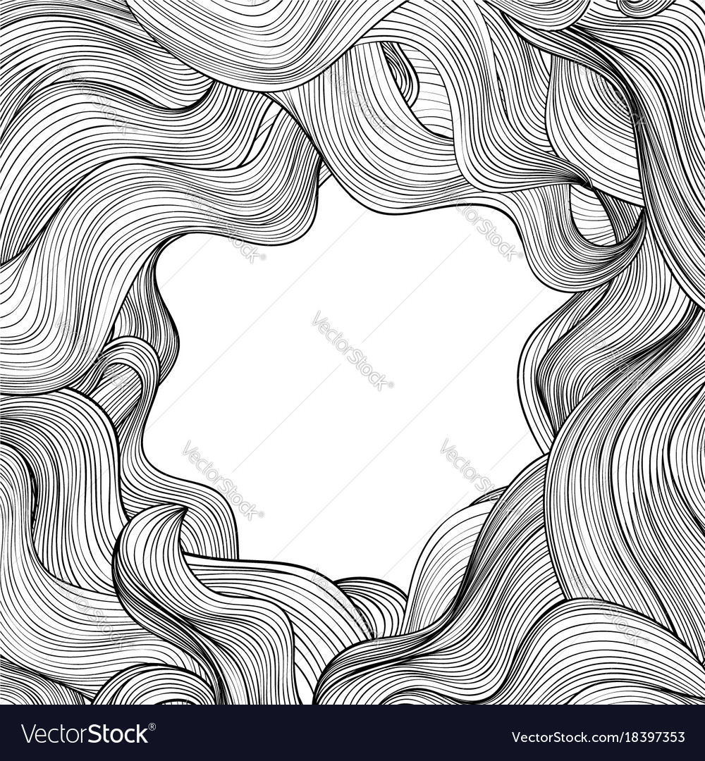 Hair outline background wavy hair frame beauty Vector Image 1000x1080