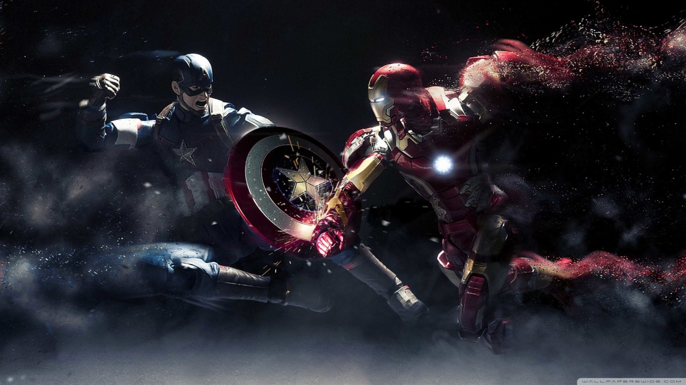Captain America vs Iron Man 4K HD Desktop Wallpaper for 4K 1366x768