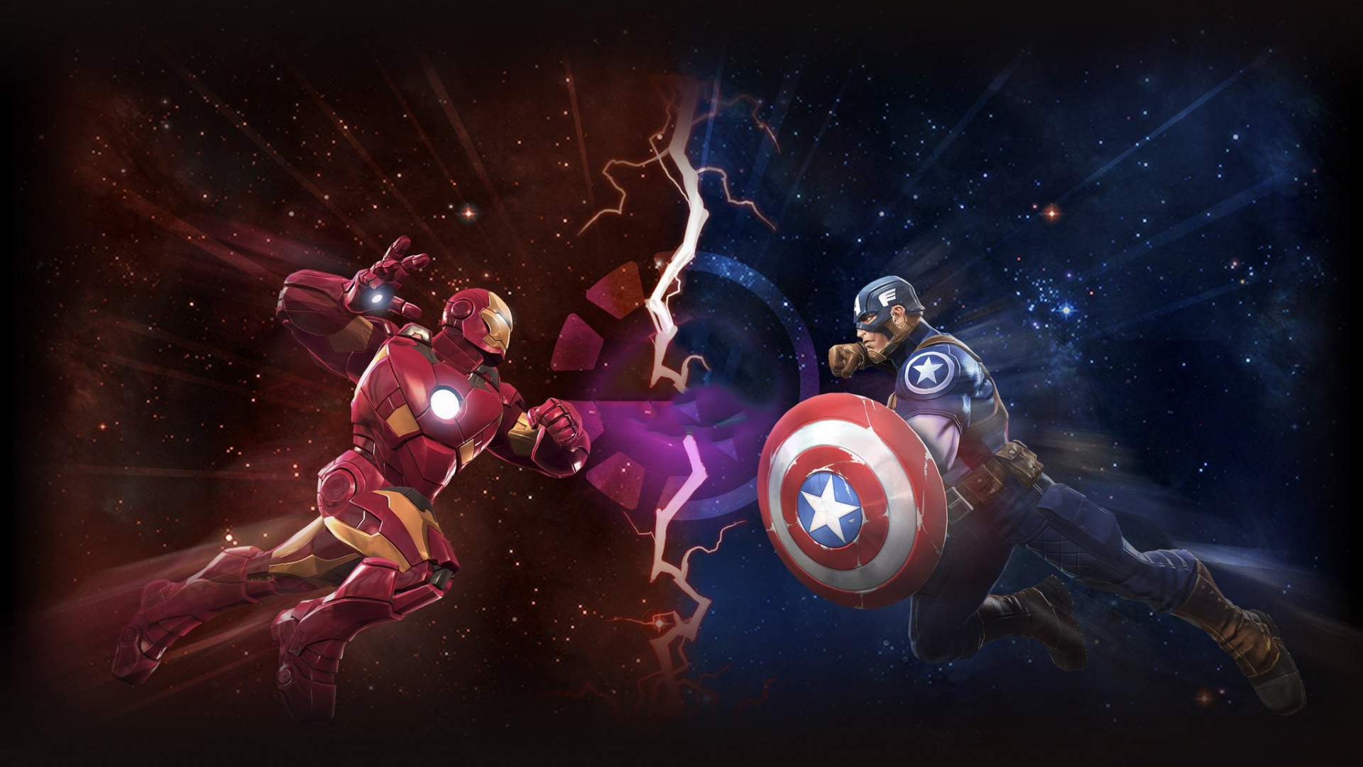 Iron Man vs Captain America Artwork Wallpaper   Wallpaper Stream 1920x1080