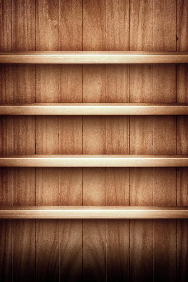 Desk and Shelves Desktop Wallpaper 640x960