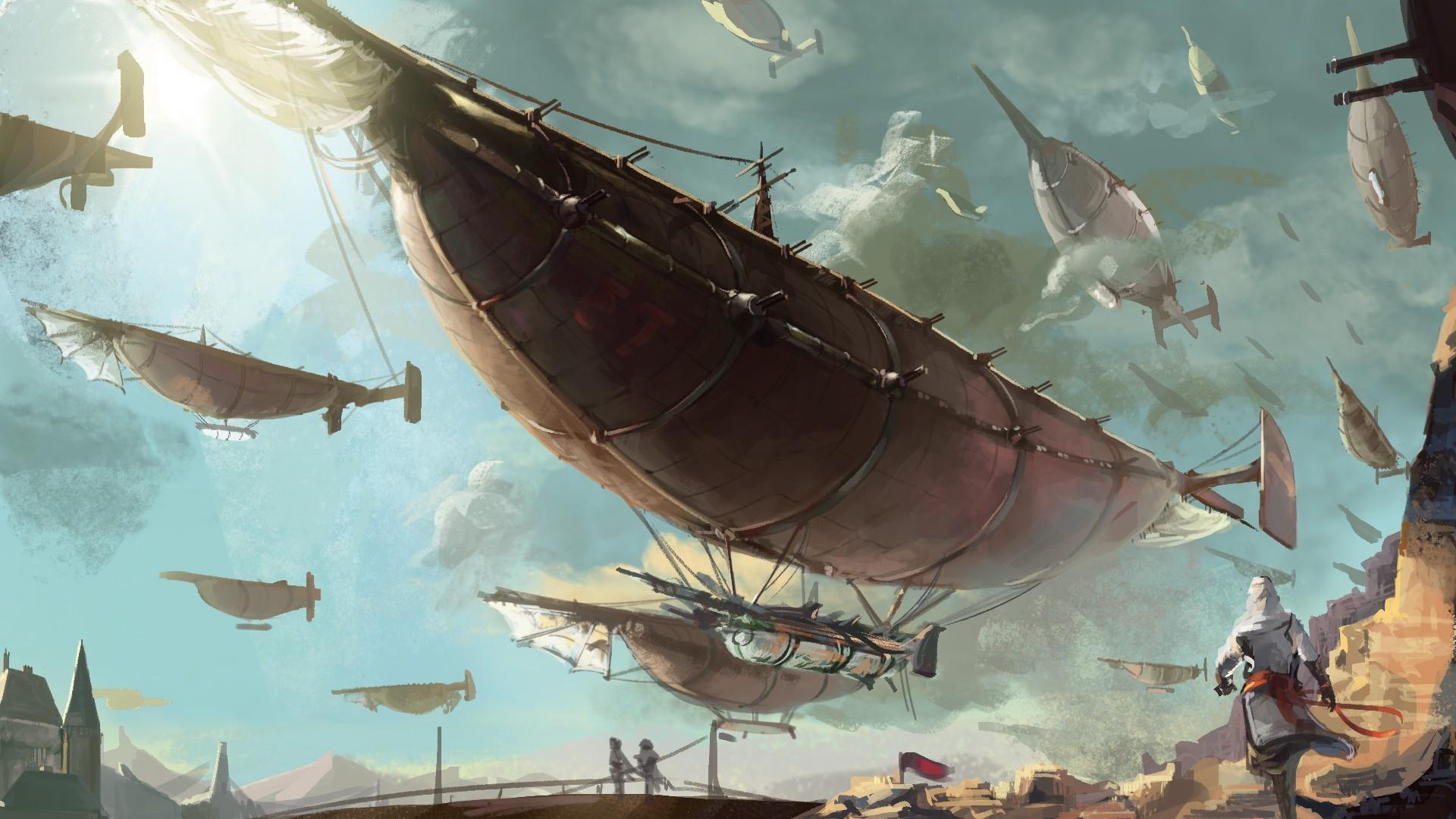 steampunk mechanical ships boats flight sky clouds aircraft f 1920x1080