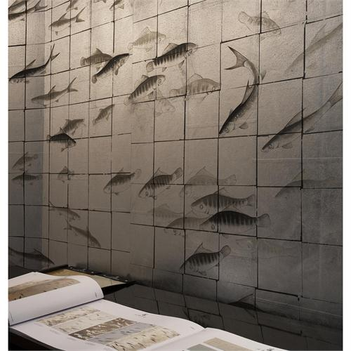 Transitional Wallpaper from de Gournay Model Fishes 500x500