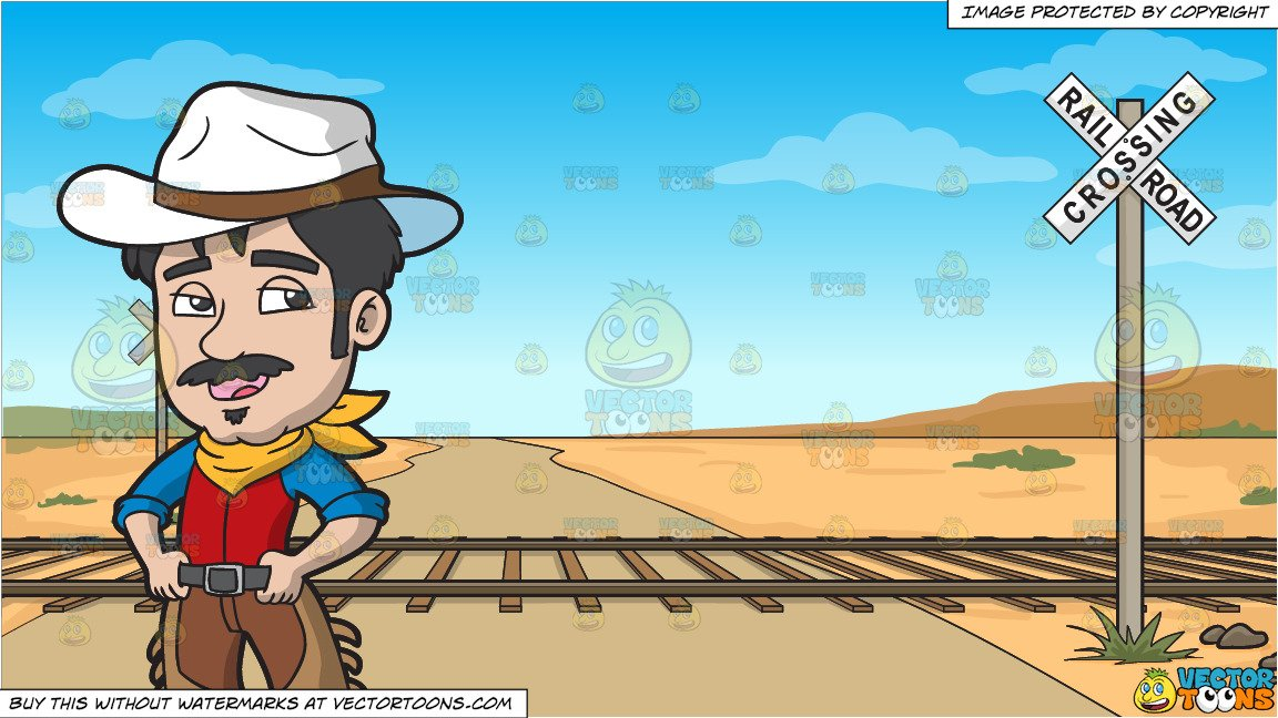A Suave Cowboy and Railroad Crossing Background Clipart Cartoons 1152x648
