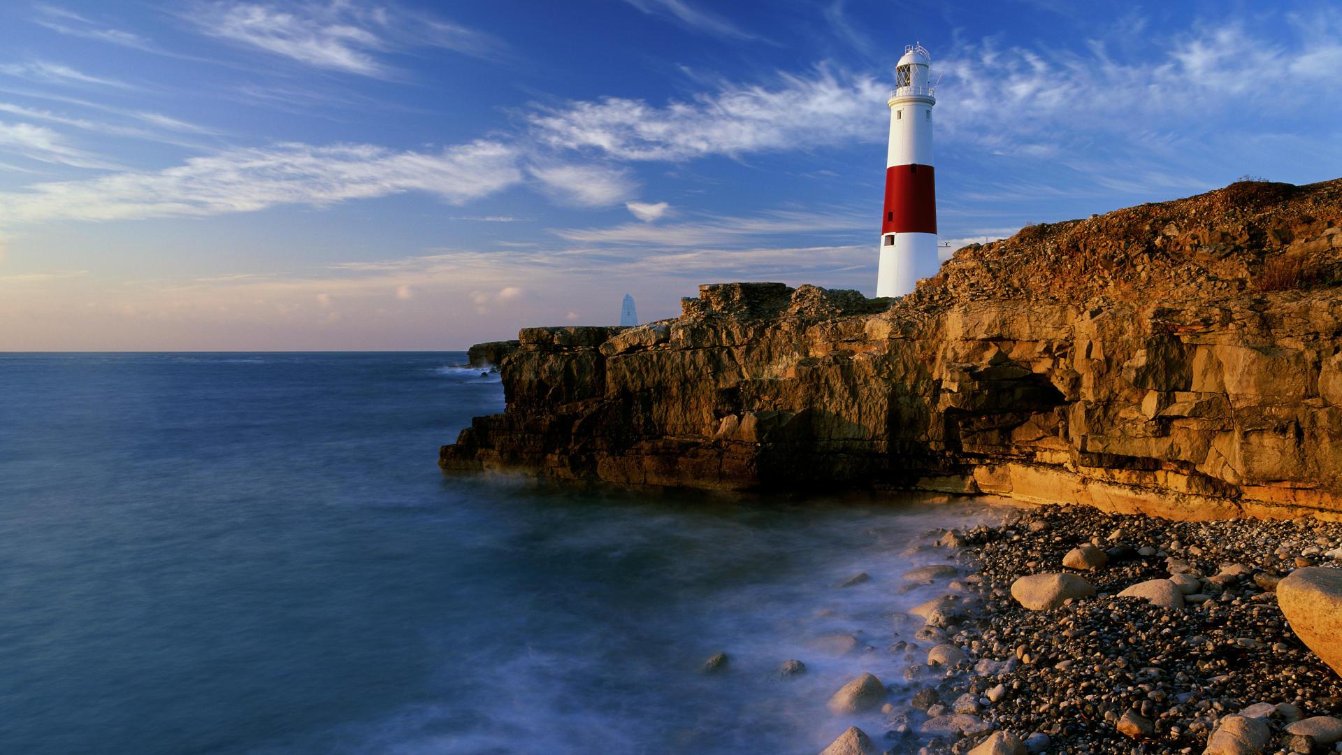 lighthouse backgrounds desktop wallpaper dorset england 1920x1080 1920x1080