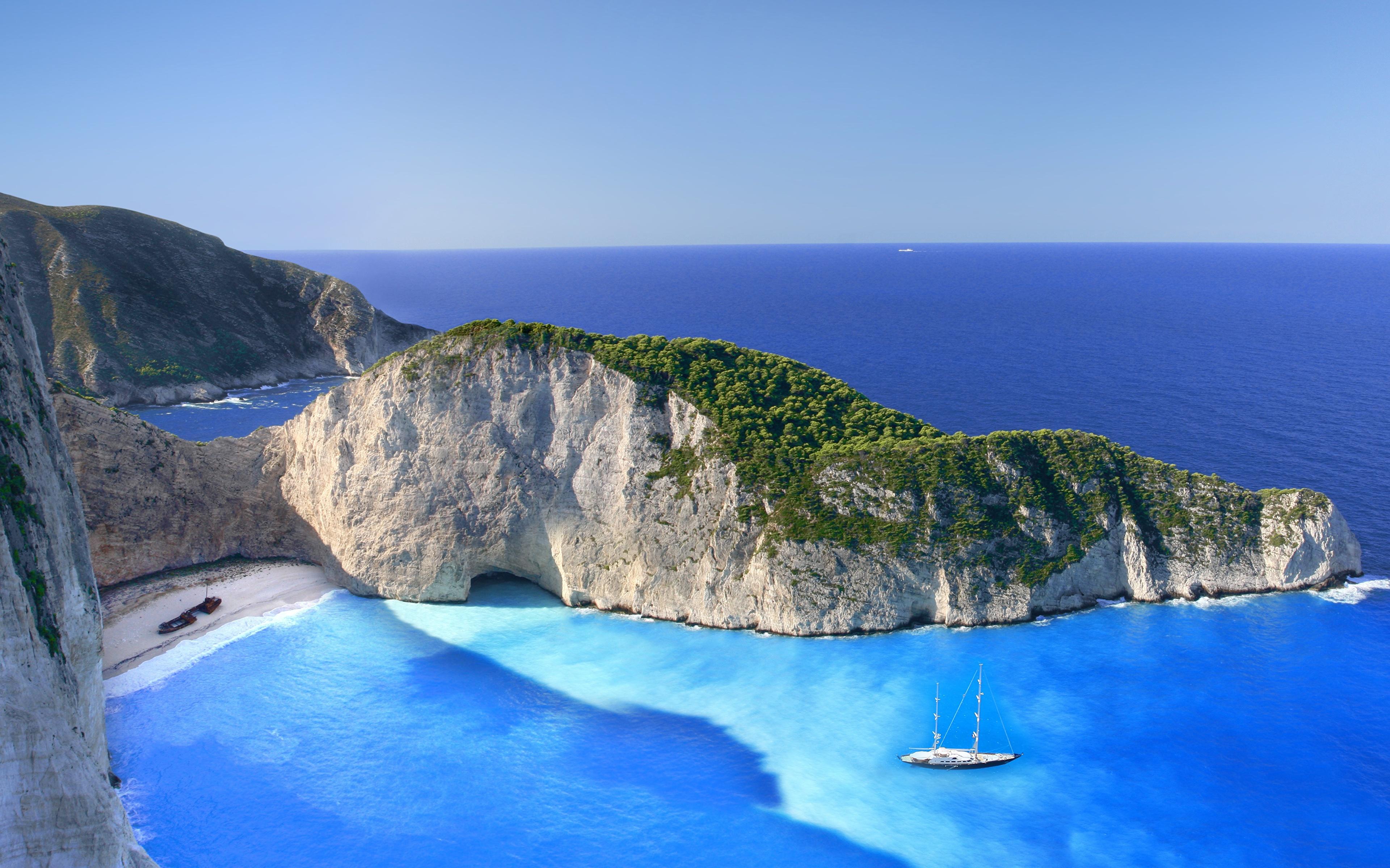 Images Greece Zakynthos Navagio Sea Crag Nature Cove 3840x2400 3840x2400