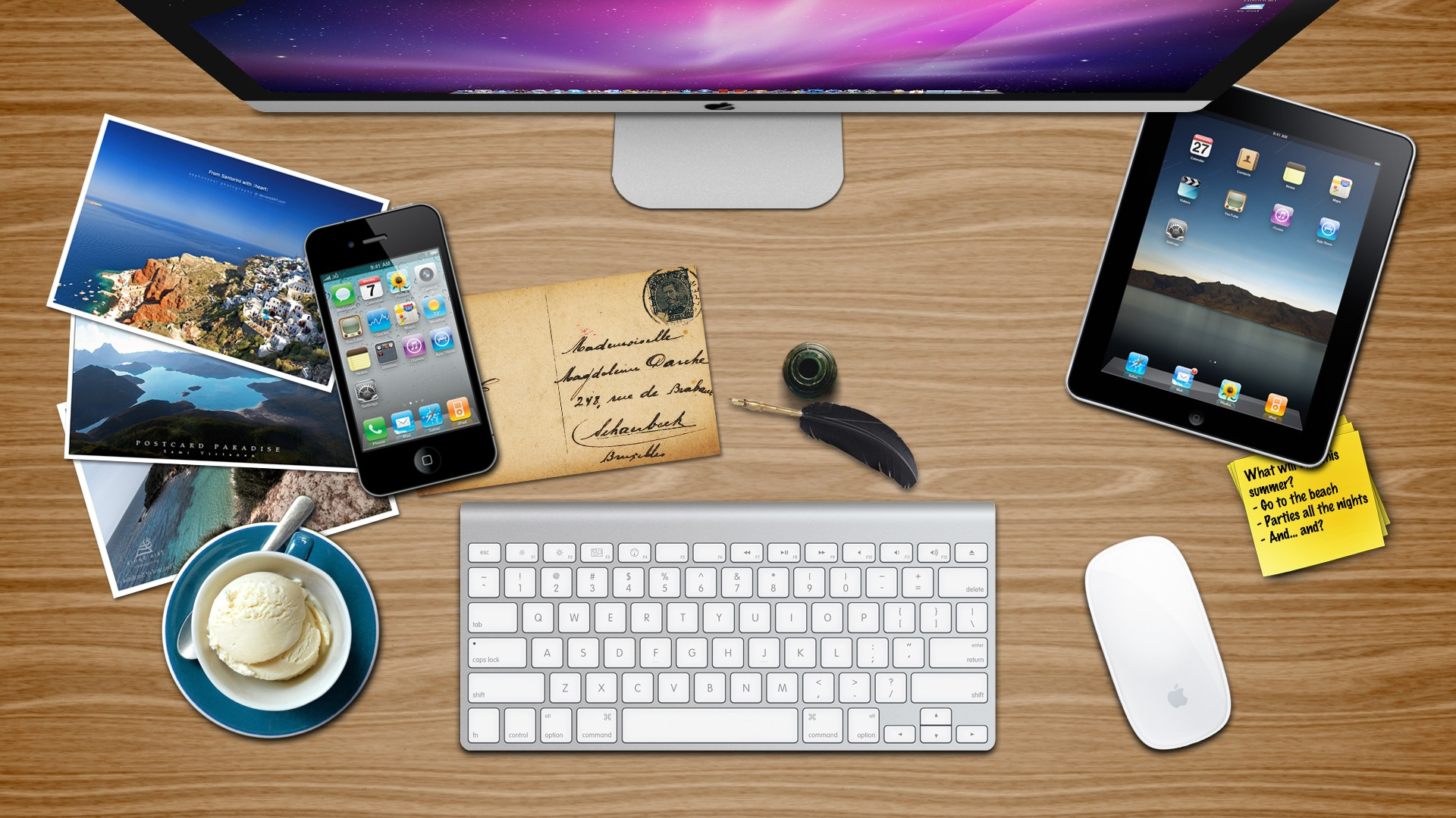 wallpapers for office. Theme Bin Blog Archive Apple Desk Summer Edition HD Wallpaper 1920x1080 Wallpapers For Office
