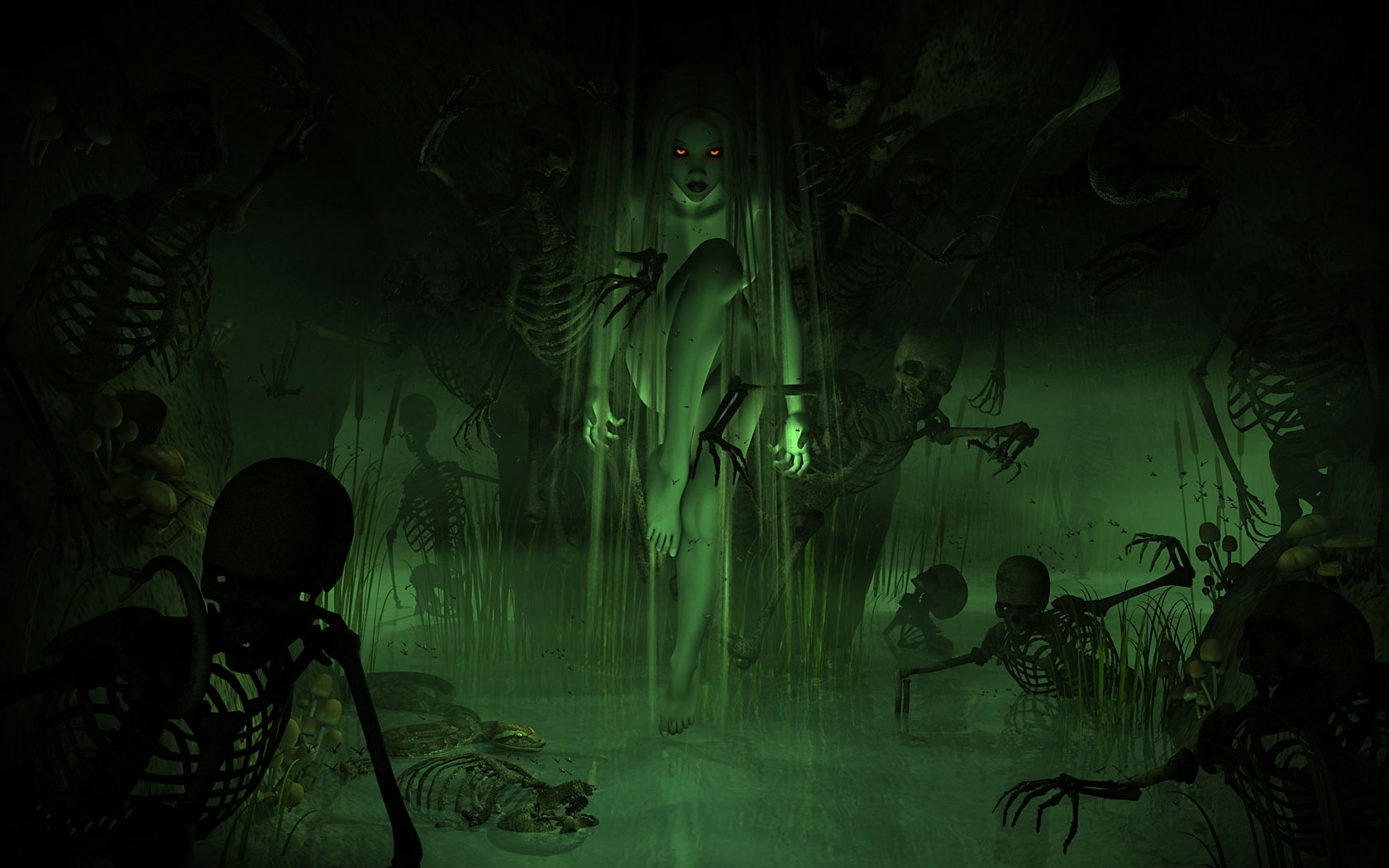 horror evil women girl swamp demon skeleton skull wallpaper background 1680x1050
