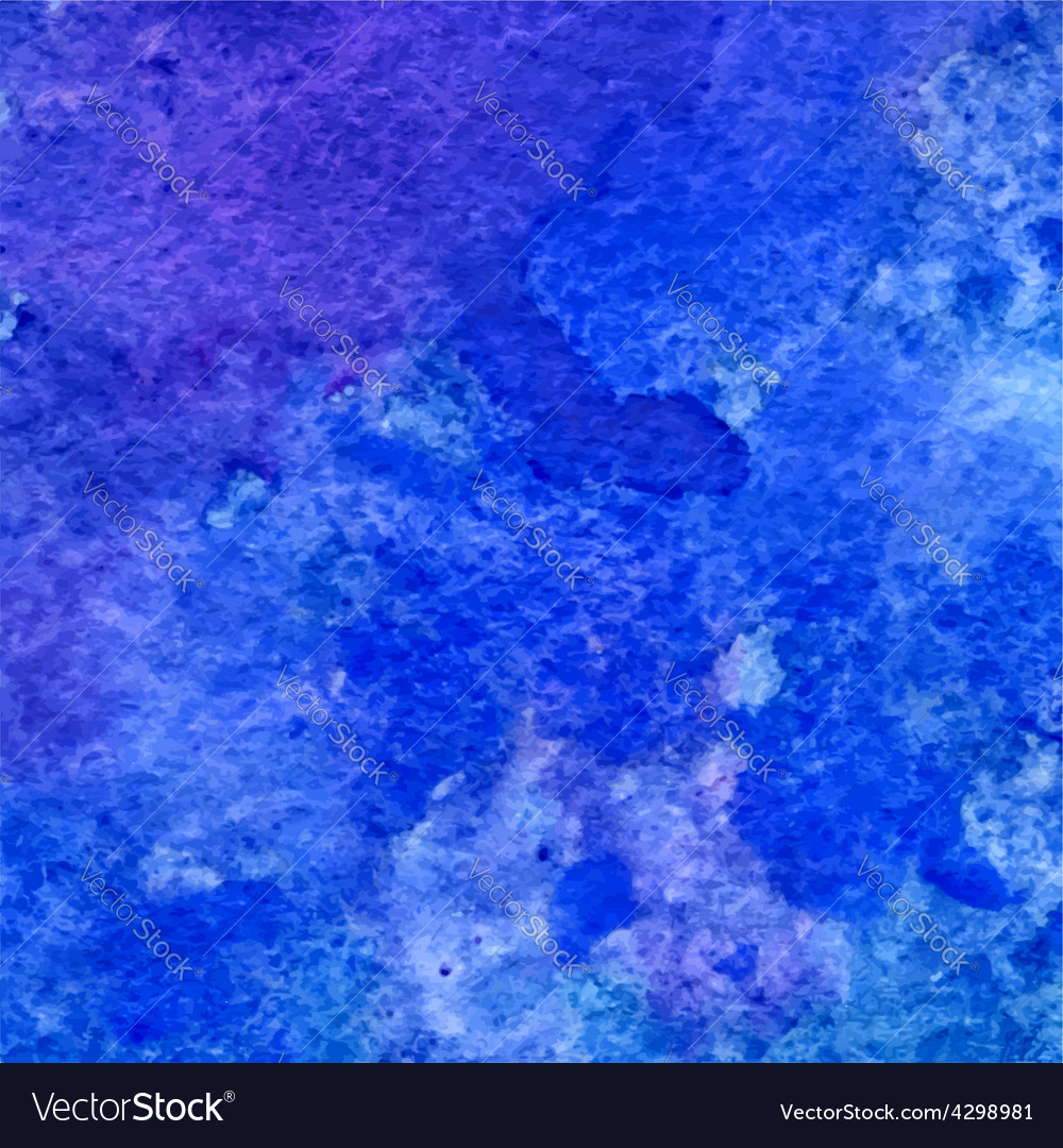 Blue and ultramarine grunge watercolor background Vector Image 1000x1080