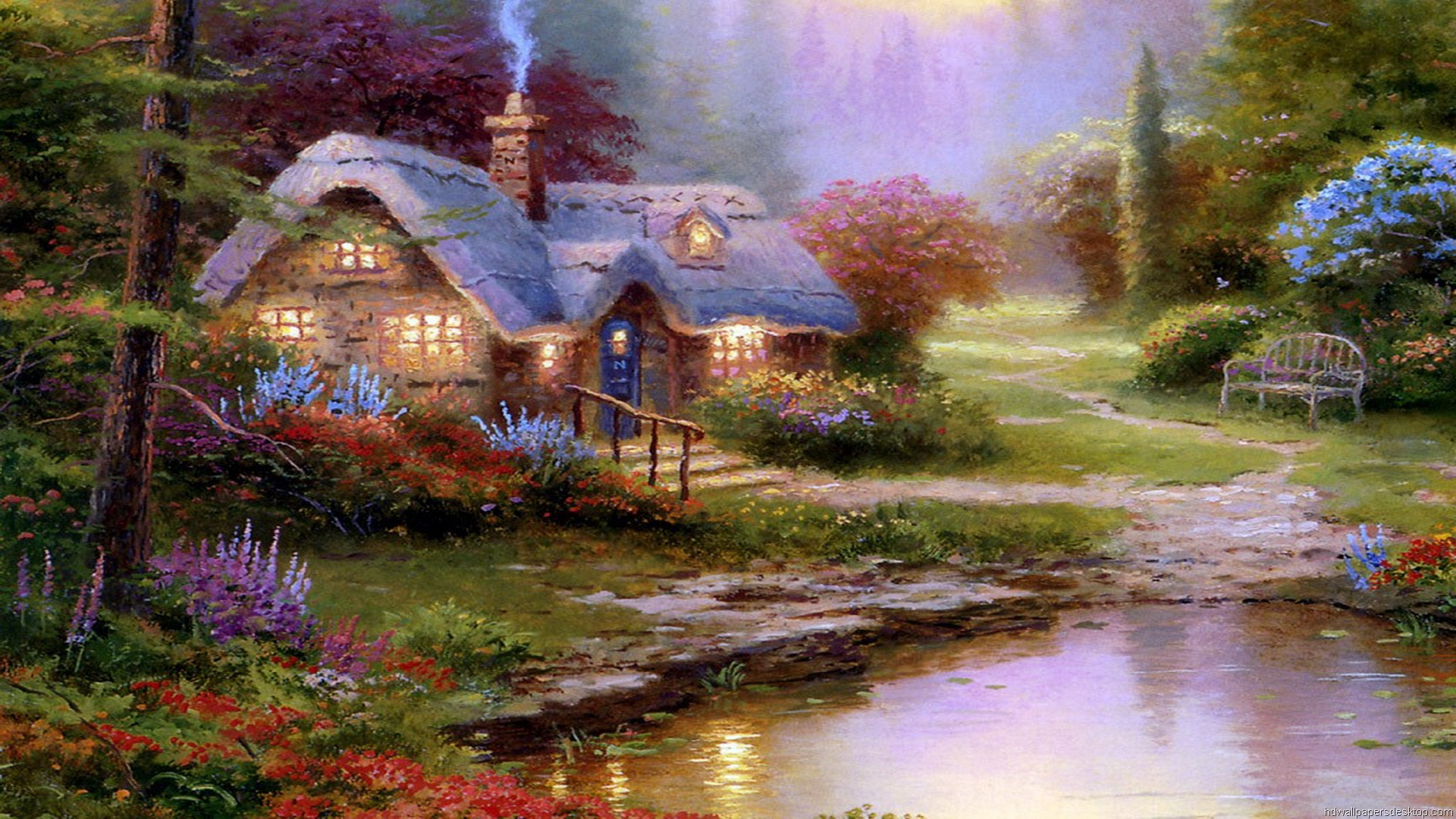 Thomas Kinkade Wallpaper Paintings Art HD Desktop 1920x1080