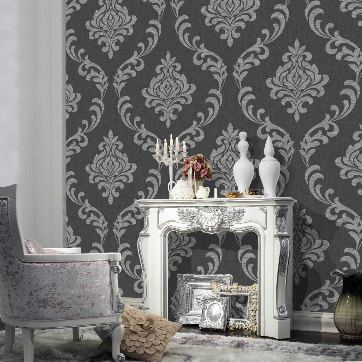 Shop By Brand Fine Decor Torino Black and Grey Damask Wallpaper 1200x1200