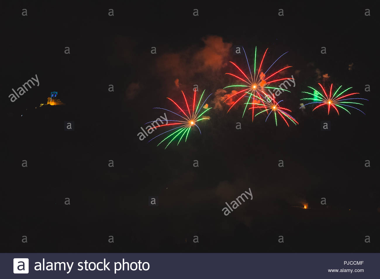 Colorful fireworks on the feast of the patron saint of the city 1300x956