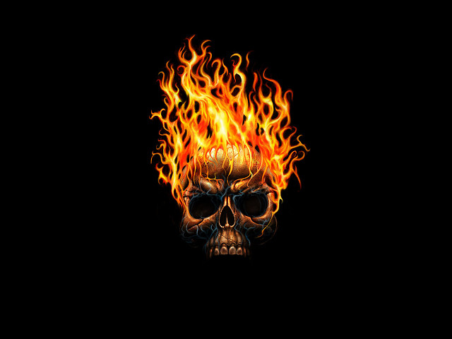 skull flaming wallpapers desktop holidays wallpaper imagecache 640x480