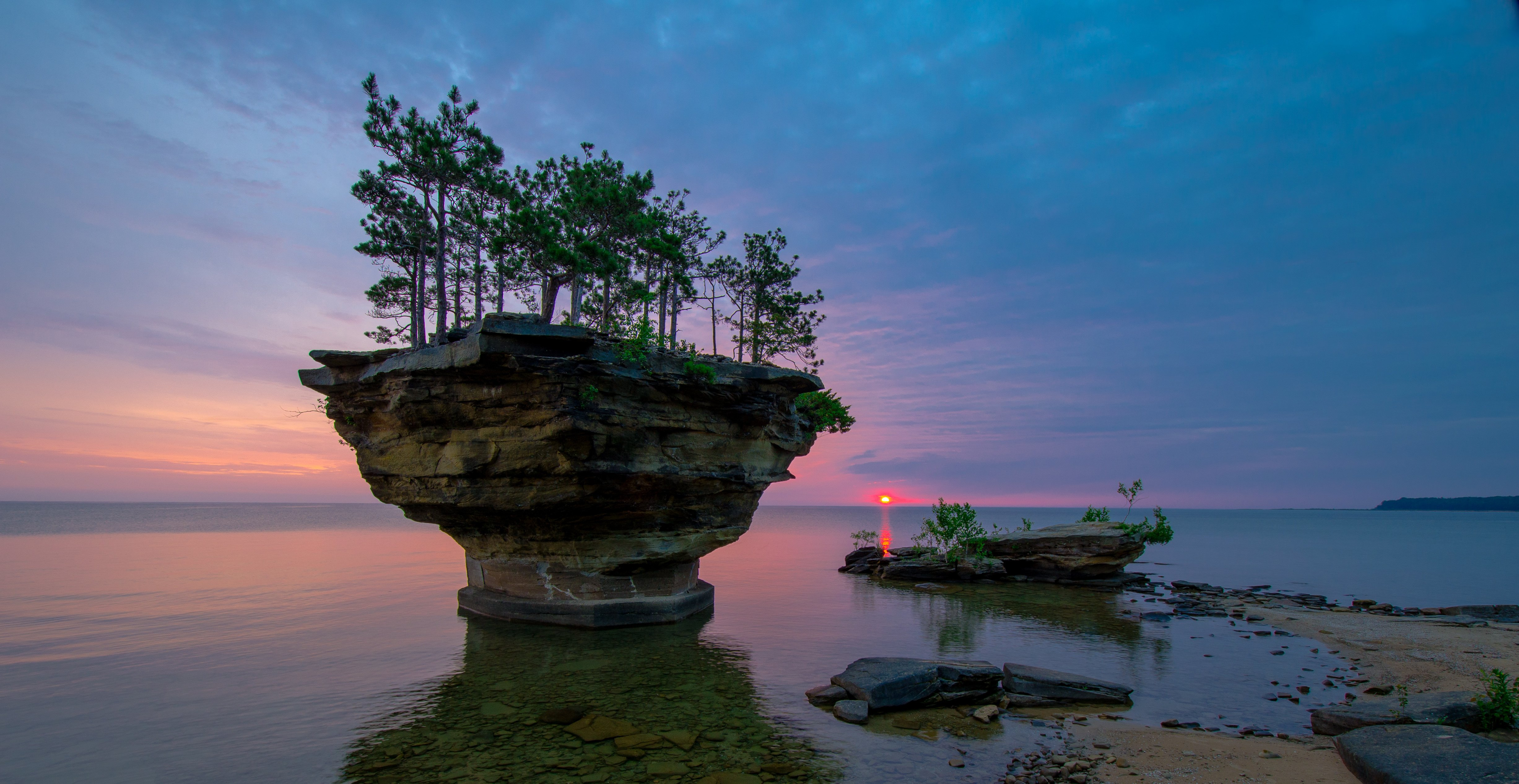 Michigan Lake Huron sunset rock trees landscape wallpaper 4906x2534 4906x2534