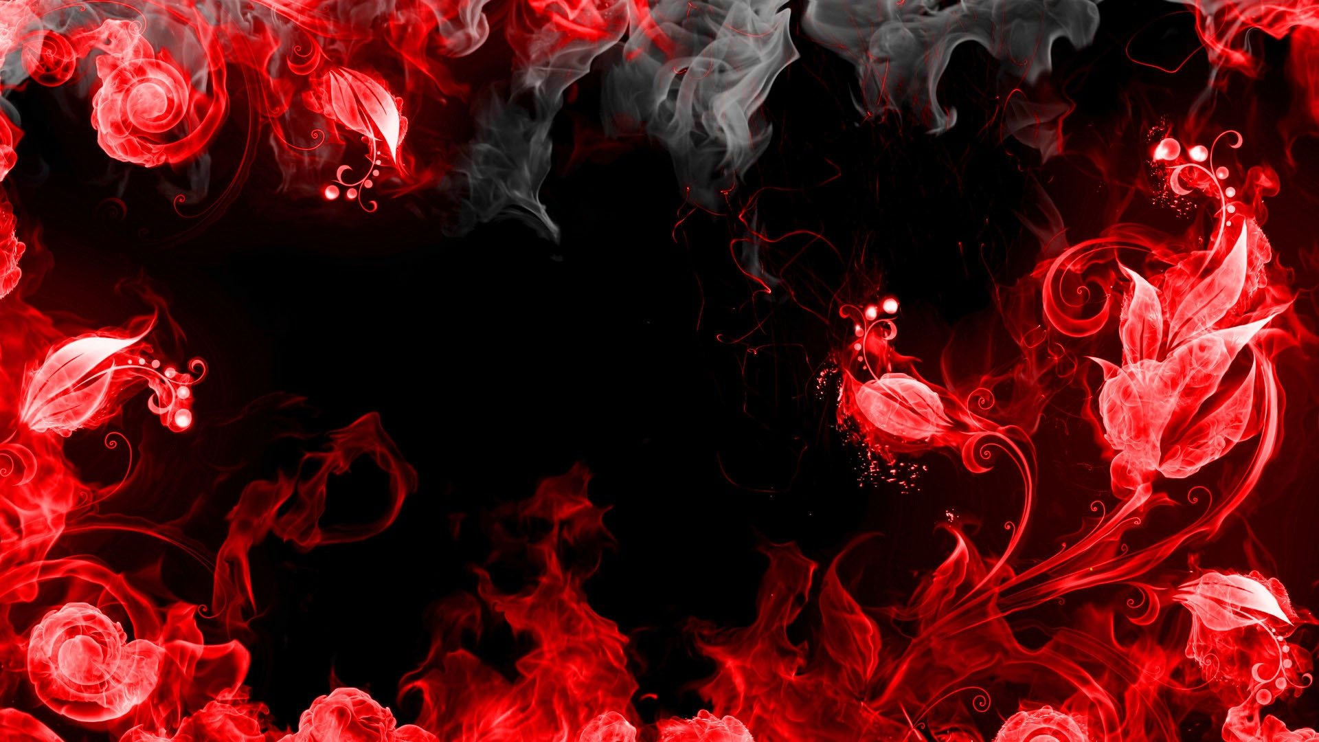 Download Wallpaper 1920x1080 abstraction red smoke black Full HD 1920x1080