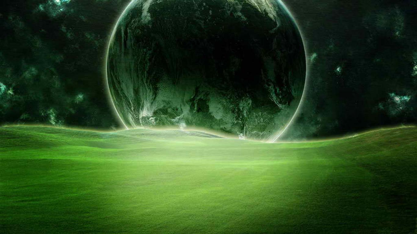 graphics planets grass green grass 1366x768