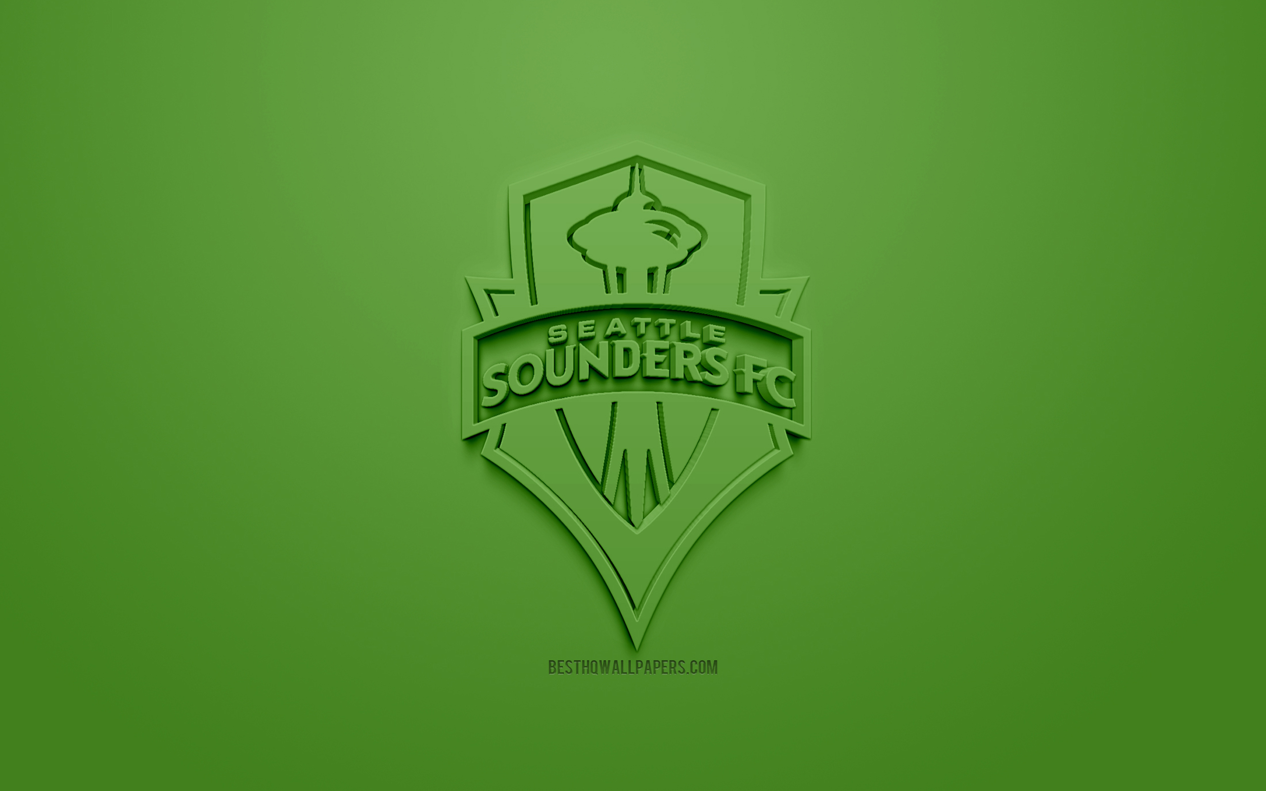 Download wallpapers Seattle Sounders FC creative 3D logo green 2560x1600