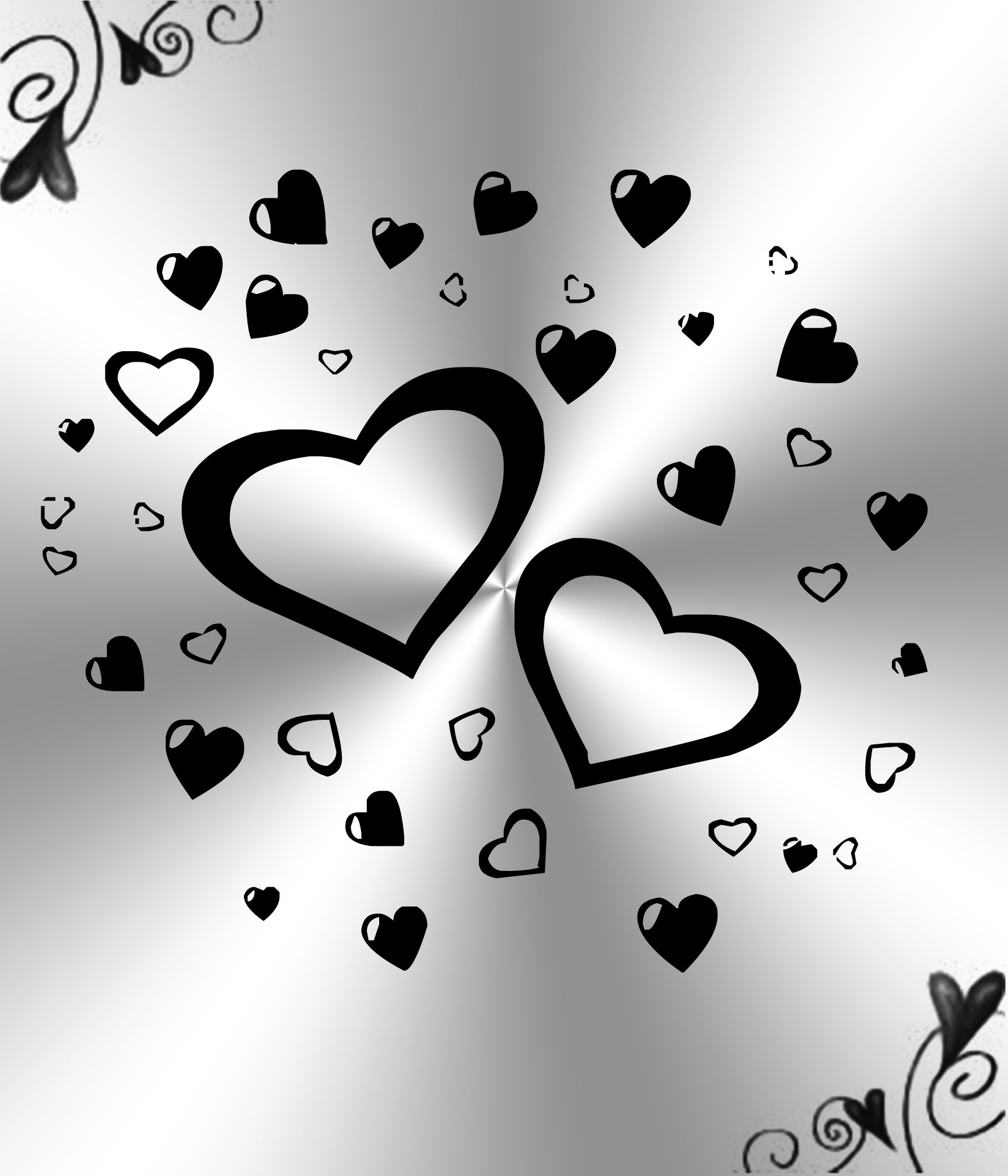 Free Download White And Black Hearts Background By Princessdawn755