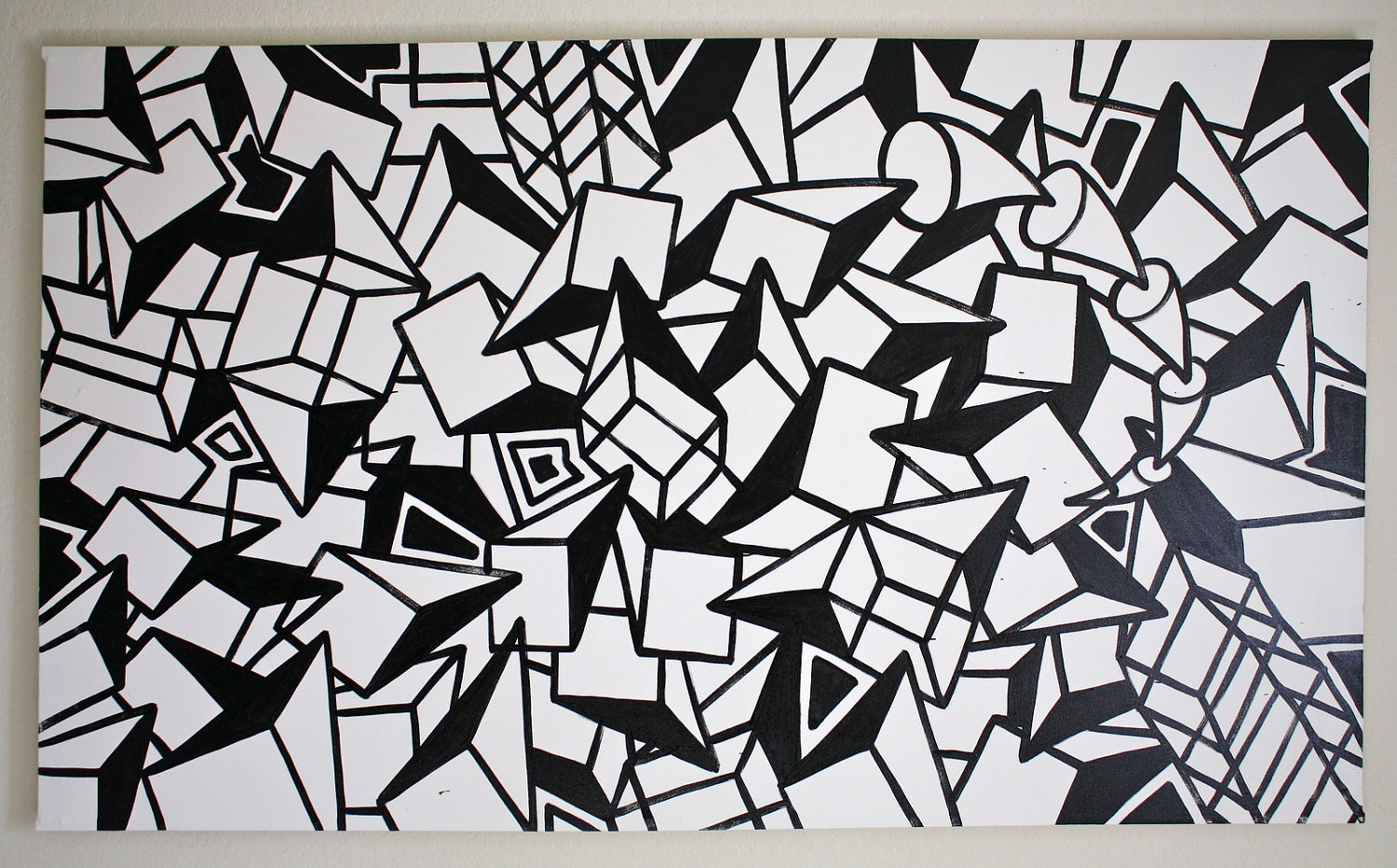 View original size abstract art black and white painting wallpaper