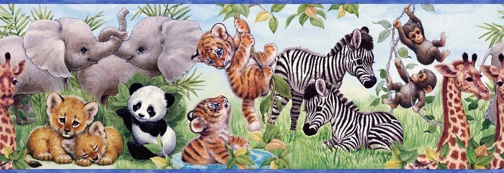 Baby Monkeys Zebra Panda Tiger Wallpaper Border CK83001B  Borders 1000x344