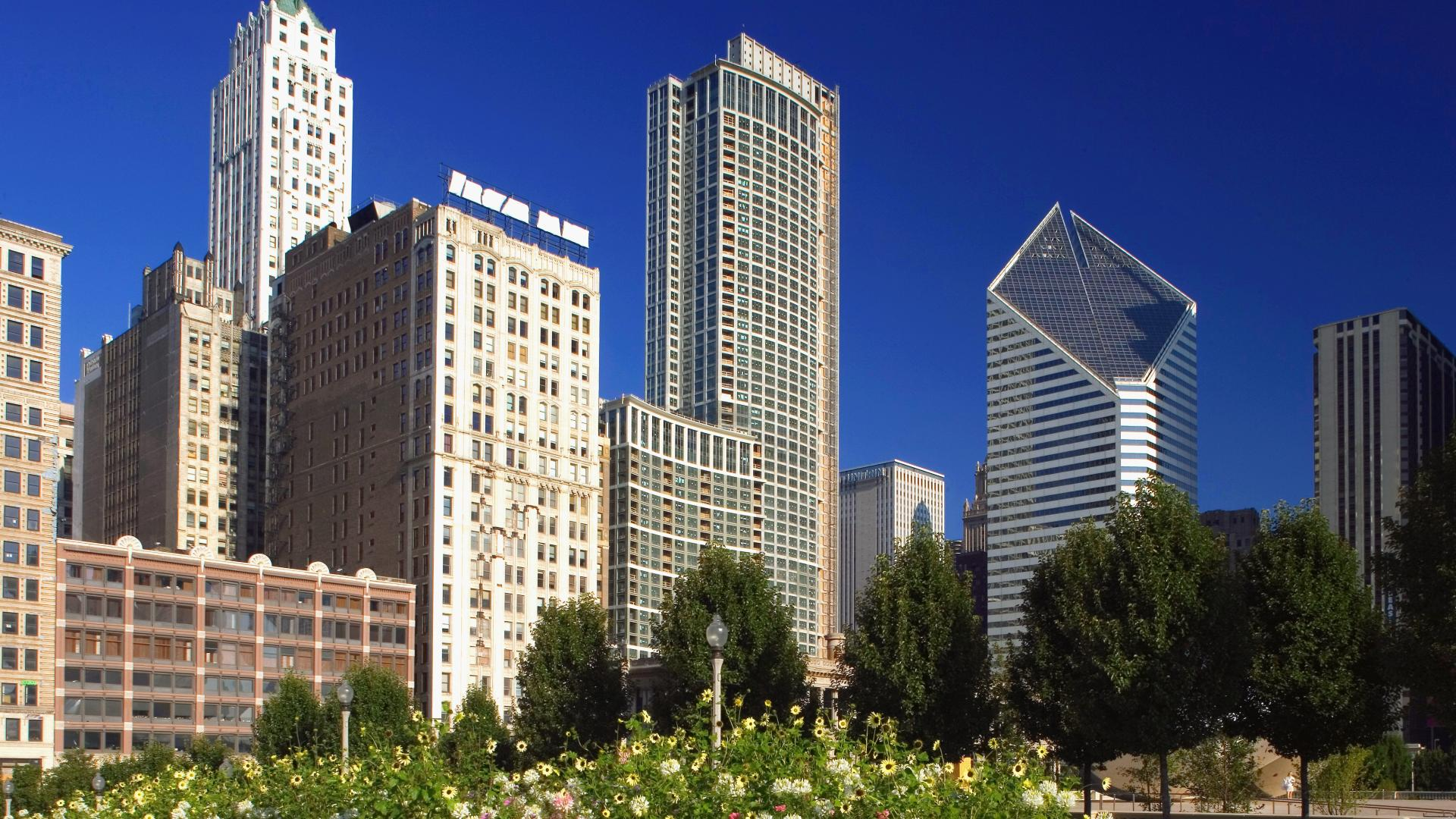 Download Background   Chicago Skyline From Millennium Park 1920x1080