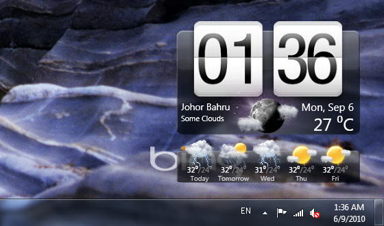 HTC Clock and Weather Widget for Windows 7 and Vista 560x330