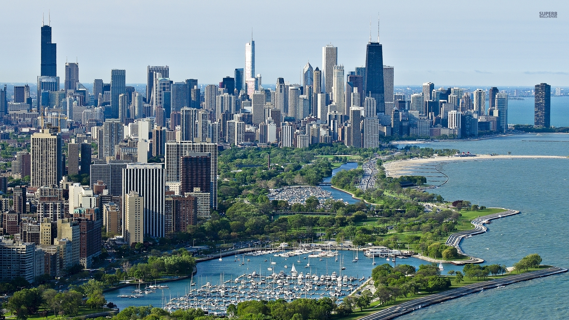 1920x1080 Pretty Chicago Harbor Illinois desktop PC and 1920x1080