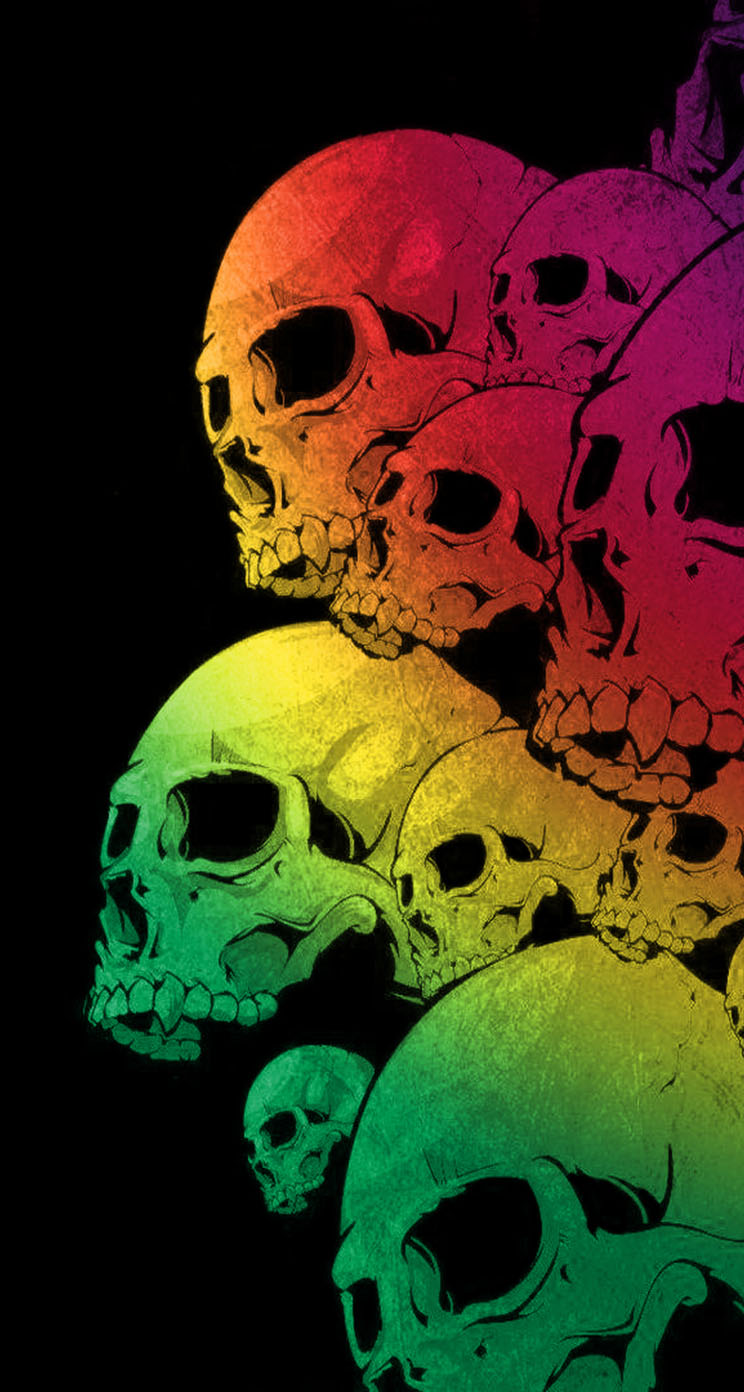 Skulls Colorful Black Background The IPhone Wallpapers 744x1392