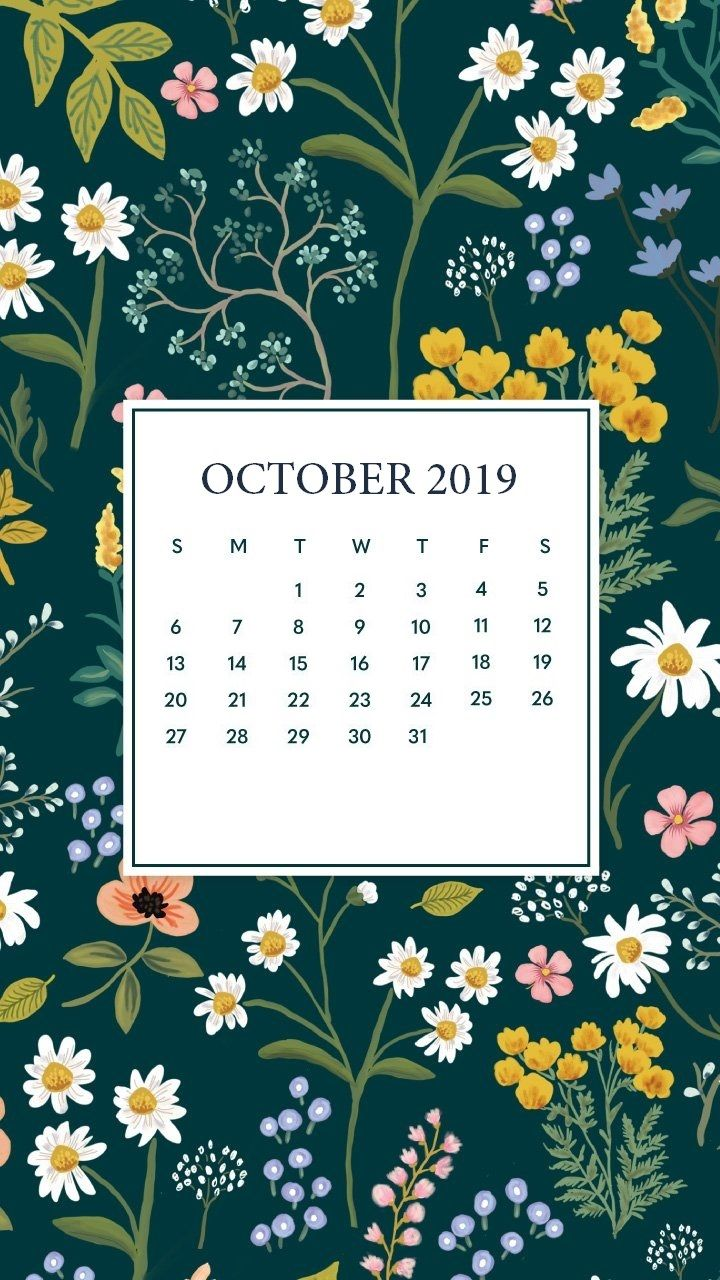 October 2019 Mobile Calendar Wallpaper in 2019 Iphone wallpaper 720x1280