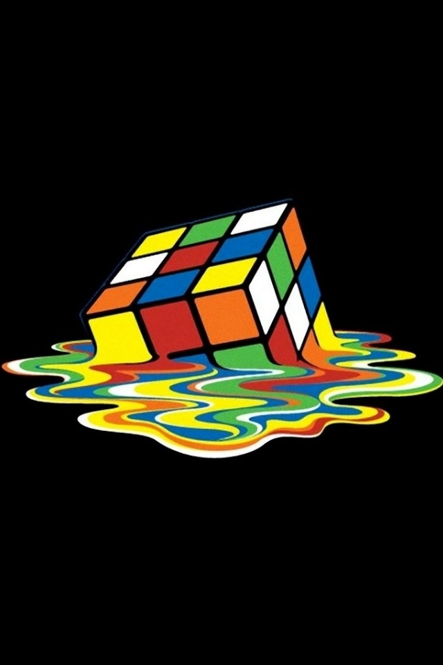 Melting Rubiks Cube iPhone 4 Wallpaper 640x960 640x960