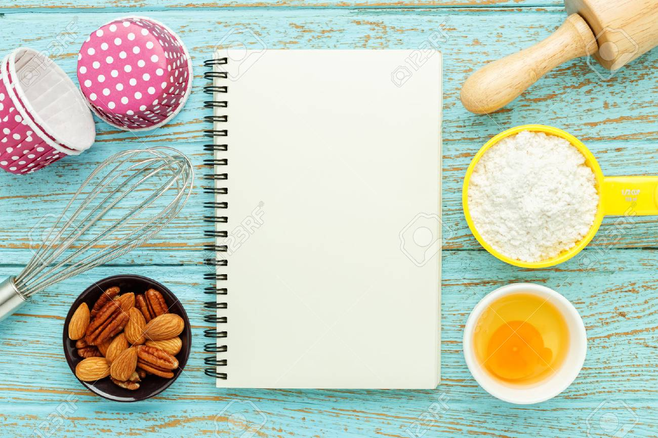 Bake Background With Baking Ingredients And Black Notebook On 1300x866