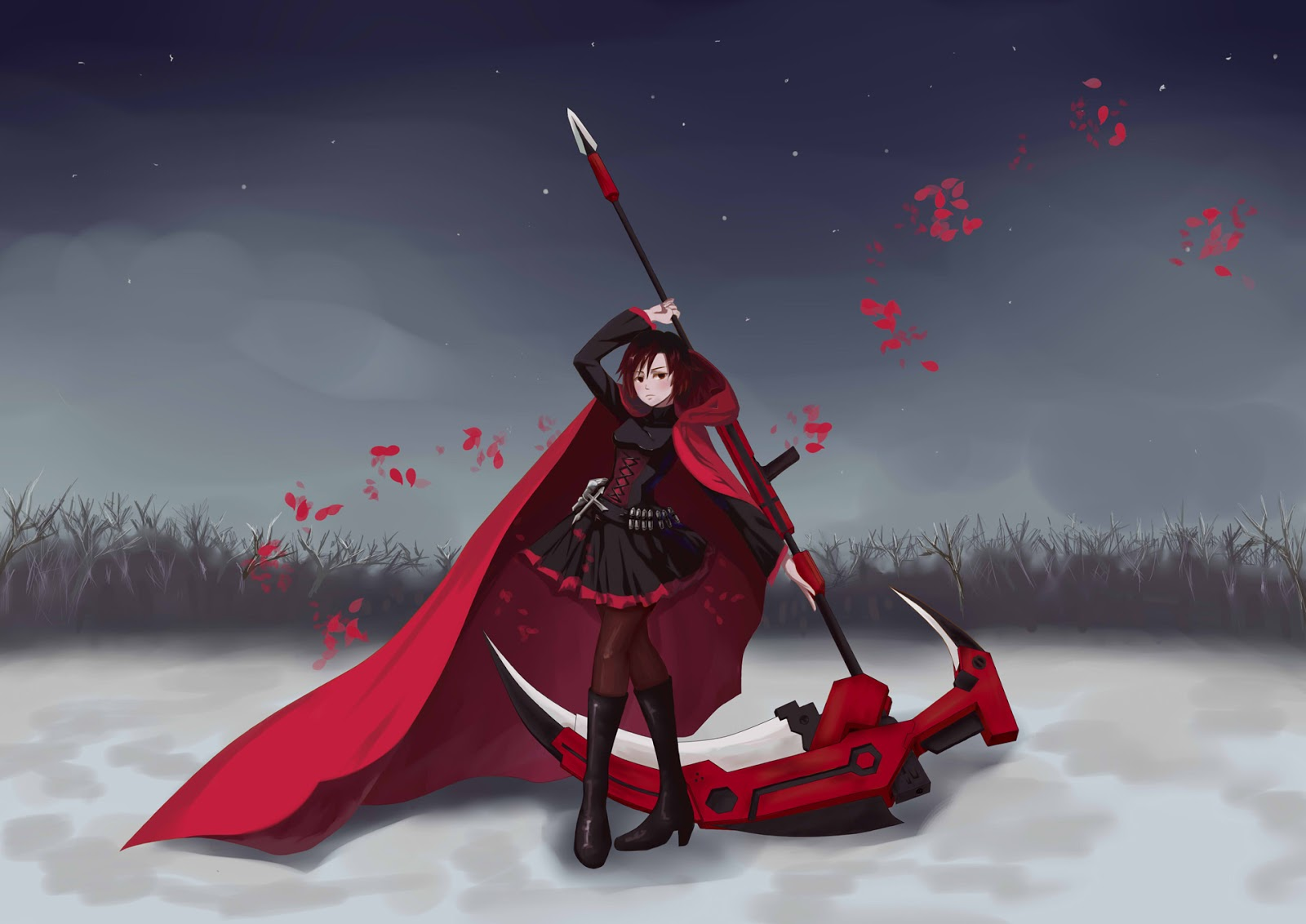 Rose RWBY Anime Girl Red Cape Death Scythe Black Dress HD Wallpaper 1600x1132