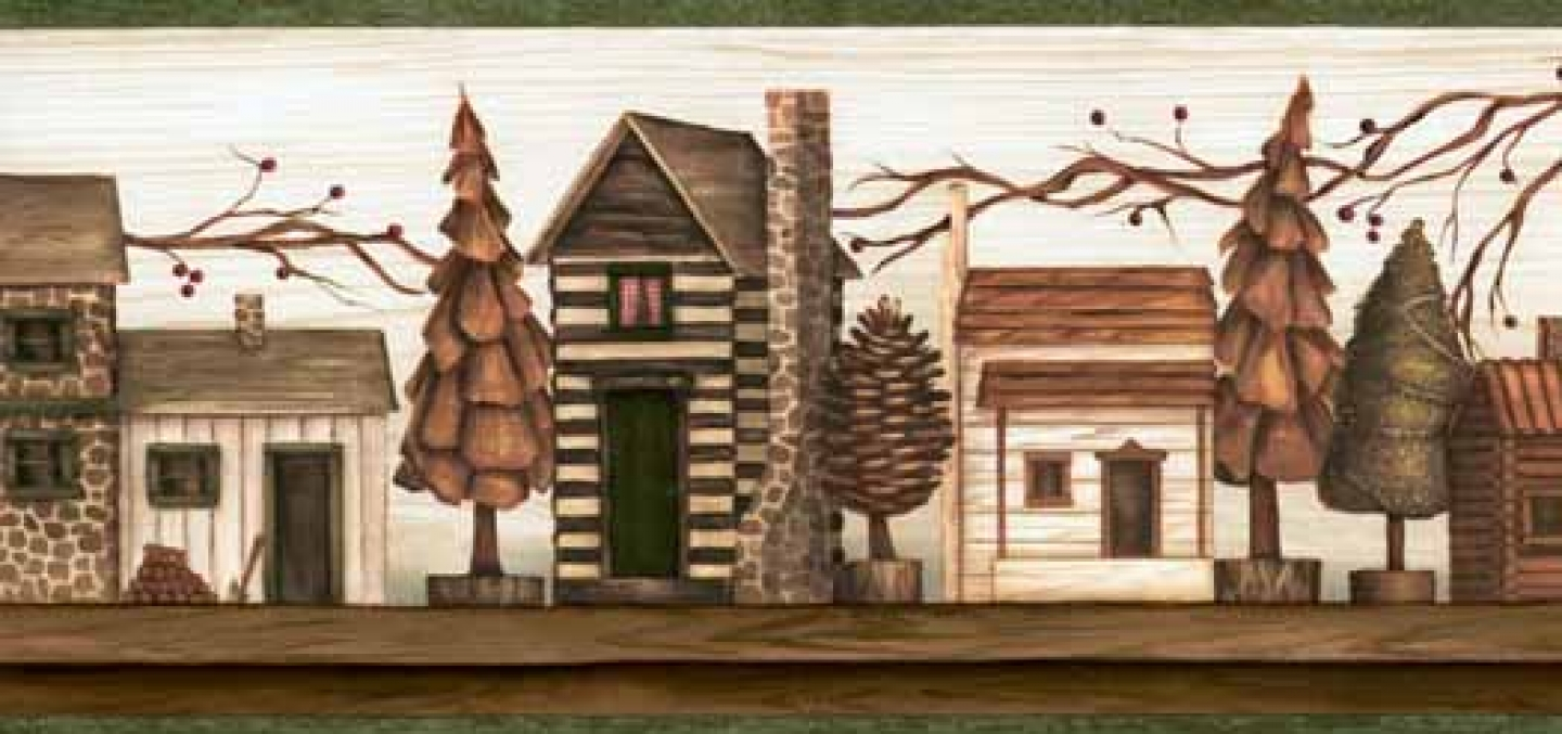Green rustic cabins wallpaper border wallpaper border wallpaper 1440x677