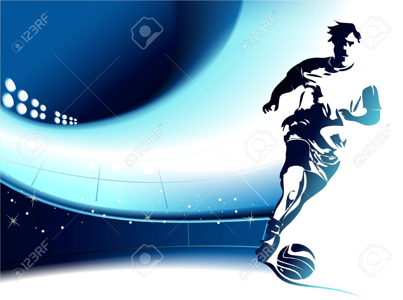 Football Background With Player Royalty Cliparts Vectors 1300x969