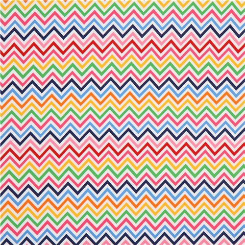 Robert Kaufman knit fabric zig zag pattern pink blue   Knit Fabric 500x500