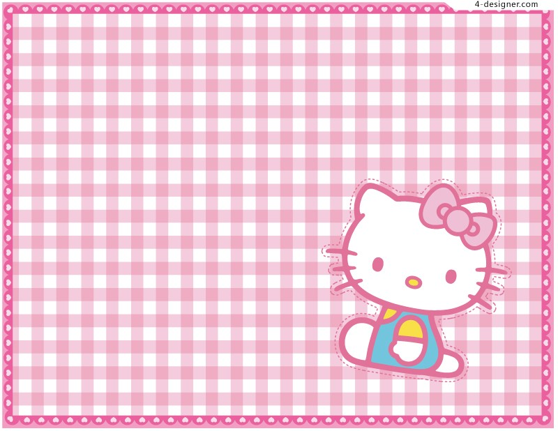 Designer Cute Hello Kitty background vector material 800x618