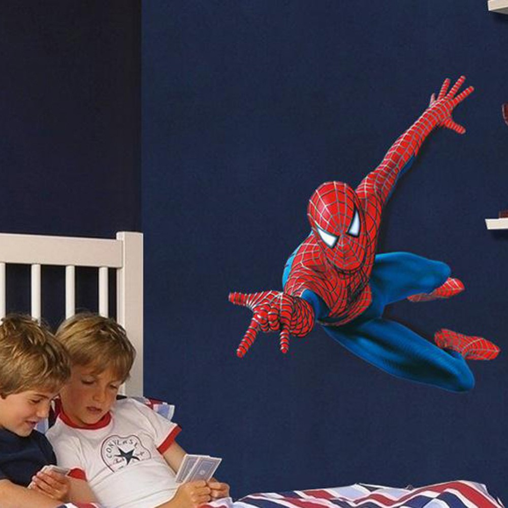 Plane Spiderman Wall Stickers For Kids Rooms Cartoon Vinly Wallpaper 1000x1000