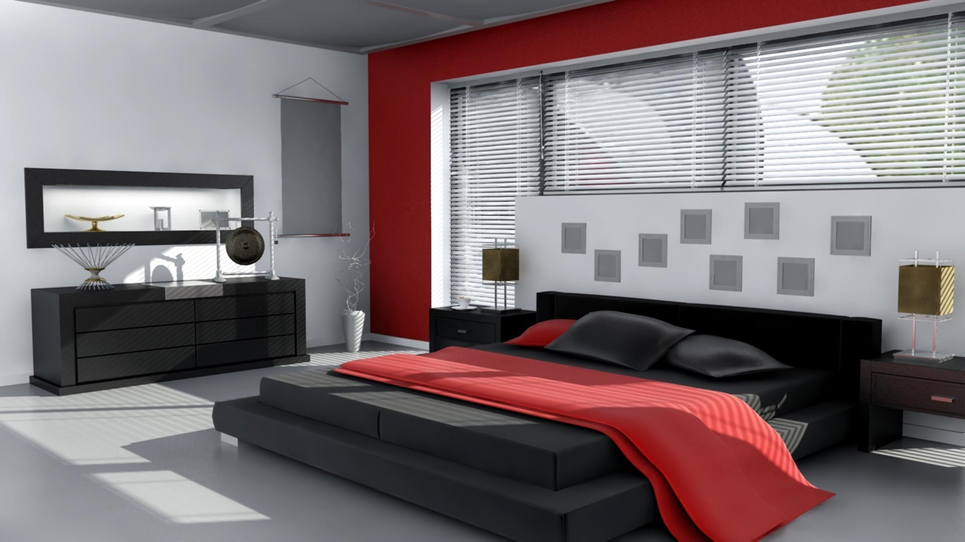 Red white and black bedroom wallpaper 666 1920x1080