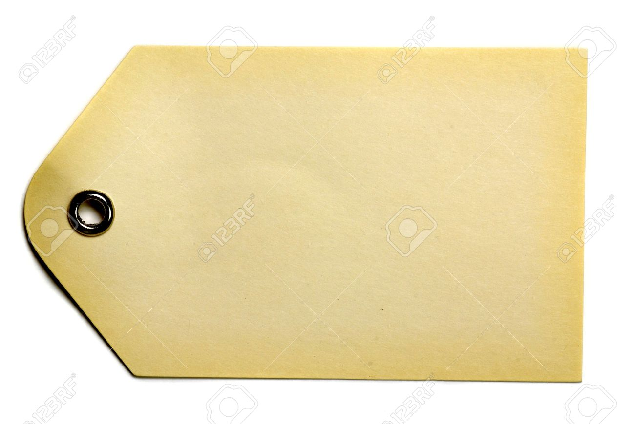 Blank Beige Gift Tag Isolated On A White Background Stock Photo 1300x870